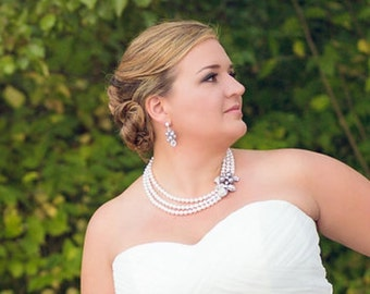 gray swarovski pearl and crystal necklace Statement Bridal necklace Wedding Rhinestone necklace swarovski crystal pearl necklace SHARON