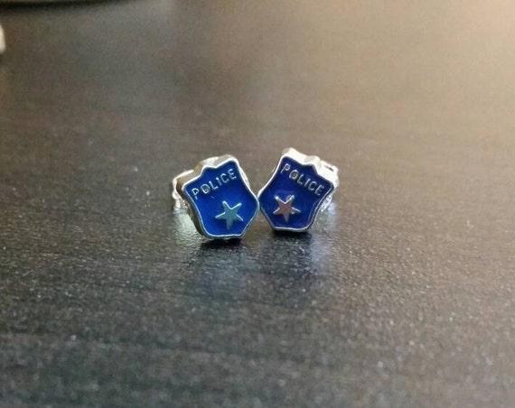 Blue police shield charm earrings - miniature post earrings - thin blue line - support law enforcement