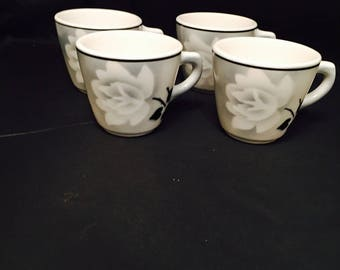 Vintage Syracuse China,  Airbrushed Rose Restaurant Ware Coffee Or Tea Cups, Black And White, Set 4