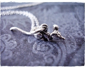 Silver Long-tailed Mouse Necklace - Sterling Silver Long-tailed Mouse Charm on a Delicate Sterling Silver Cable Chain or Charm Only