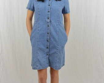 Vintage Denim Dress, Size Small, Collared Dress, 90's Clothing, Mini Dress, Grunge, Riot Girl, Punk, Tumblr Clothing