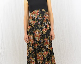 Vintage Floral Maxi Dress, Empire Waist, Size XS, Grunge, 90's Clothing, Goth, Witch, Dramatic, Dark Mori, Tumblr Clothing