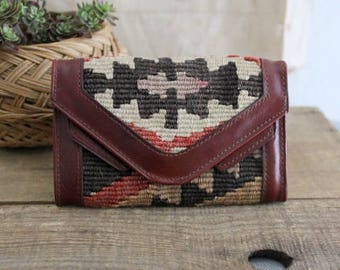 Vintage Kilim And Leather Wallet