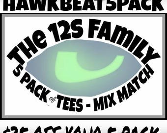 Hawkbeat / 5 Pack / Family Pack / mens / womens / kids / crew neck / v-neck / Gift Set / T-Shirts / Tees / 12s Heartbeat / Spaceneedle / 12s