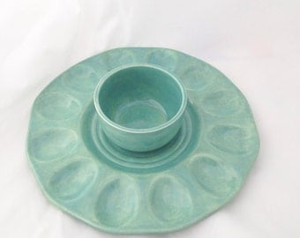 Jade Deviled Egg Plate with Optional Condiment Bowl - Ceramic Egg Platter - Serving Tray