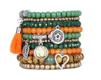 Beaded Bracelets Set of 10 Stretch Bracelets Bohemian Stack in Oranges and Greens with Silver Tone Charms and Tassel