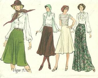 "Flared Skirt Pattern Easy To Make Waist 30"" Vogue 9311"