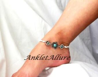 Flower Anklet Turquoise Ankle Bracelet Southwestern Body Jewelry Silver Foot Jewelry