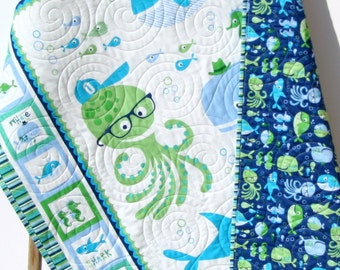 Baby Blanket Quilt, Nursery Crib Bedding Quilt, Boy Gender Neutral Whale Ocean Sea Nautical Shark Fish