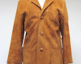 Vintage 1960s Jacket / 60s Caramel Suede Western Casual Coat / 40 Chest