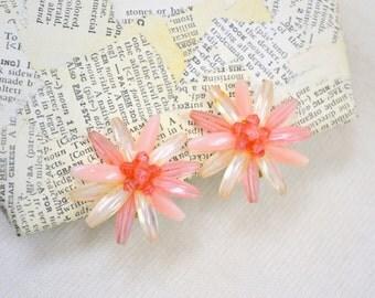 1960s Pink Flower Clip Earrings