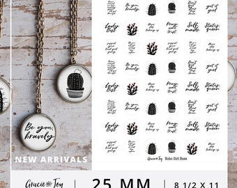 1 inch, Boho Girl Boss, Digital Download, Cactus, hand lettered, Pendant, Button, Magnet, Gracie & Joy
