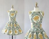 Vintage 50s Dress/ 1950s Cotton Dress/ Toni Todd Yellow Floral Cotton Dress M
