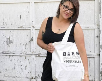 Tote, Grocery Tote, Reusable Grocery Bag, Gift For Him, Funny Tote Bag, Wine Tote, Sturdy, Mom Gift, Beer Lover Gift, Farmers Market Tote