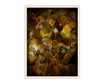 Gift for granny, blossoming old lime tree with fireflies, print on canvas, night fairy landscape, eco printed leaves, brown wall hanging