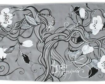 Telperion on a scarf, Silmarillion, elven fashion, fanfiction, illustration by Tolkien, Silver Tree painted on silk, elvish text, Valinor