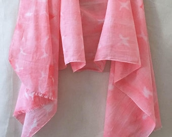 Hand Painted Scarf, Pink Cotton Scarf, Abstract Watercolor Scarf, Hot Pink Scarf, Beach Scarf, Lightweight Scarf, Boho Scarf, Festival Scarf