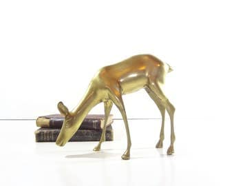 Vintage Brass Deer Figurine / Large Brass Deer Figure / Christmas Decor