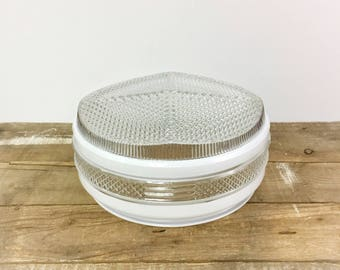 """Art Deco Ceiling Shade Geometric Milk Glass Clear Glass Globe 7"""" Fitter Vintage 1940's Embossed School House Farm House Kitchen Mid Century"""