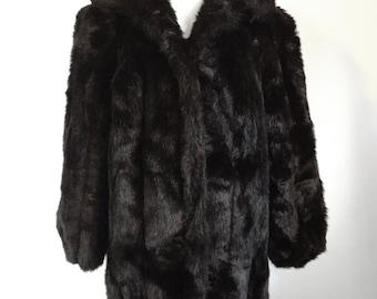 """Vintage 1980s """"Jordache"""" Dark Brown Faux Fur Coat"""