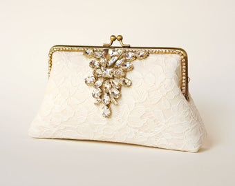 Evening Clutch / Ivory Alencon Clutch / Bridal Lace Clutch / Elegant Wedding Clutch / Wedding Bag / Bridal Clutch Purse