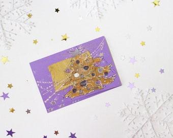 Purple Christmas tree with bronze star - blank greeting card, handmade, art, painting lavender fir, pine tree, mauve pearl pink silver OOAK