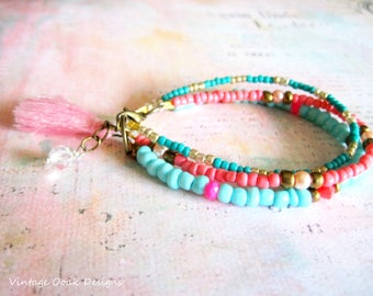 Tassel Bracelets,Beaded Bracelets,Boho Bracelets, Tassel Jewelry,Bohemian Beaded Bracelets,Beaded Tassel Jewelry,Tassel Jewelry,Bracelet Set
