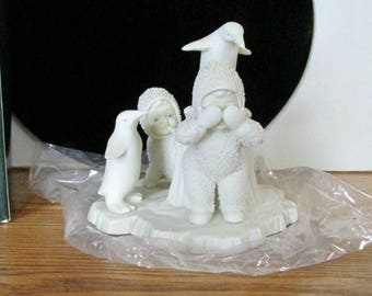 "Dept 56 Snowbunnies, Playing Peak a Boo, ""You Can't Find Me"", Porcelain Bisque Snow Babies, Box and Foam, Snow bunny Collectible,"