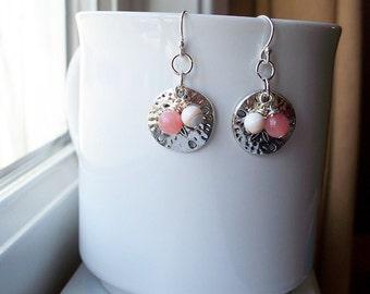 Sand Dollar Earrings Beach Charm Pink Coral Shell Bead Earrings in Sterling Silver
