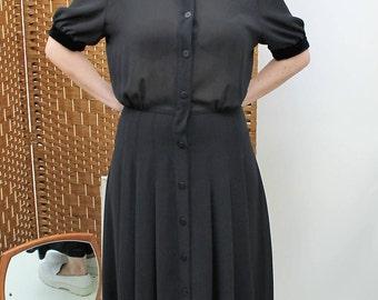 Black Semi-Sheer Chiffon Button Down Dress Size UK 12, US 8, EU 40