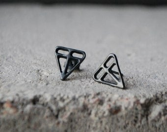 TARINA Earrings Sterling silver, Oxidized Dark hand formed unique design, recycled silver