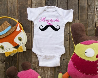 Moustachic Mustache Girl Design 1 - graphic printed on Infant Baby One-Piece, Infant Tee, Toddler, Youth Shirt