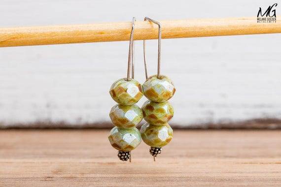 Olive Sage Green Threader Earrings in Sterling Silver and Czech Glass