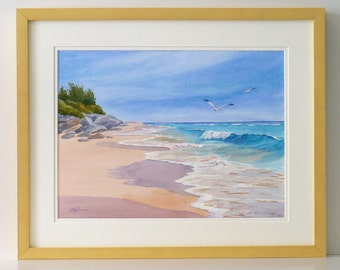 Bermuda pink sand framed original watercolor seascape painting 17x21 inch turquoise tropical ocean surf art by Janet Zeh Original Art