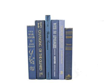 BLUE Decorative Books, Wedding Decor Centerpiece, Old Book Set, Home Decor, Instant Library, Decorating by color, Book stack, Photo Props