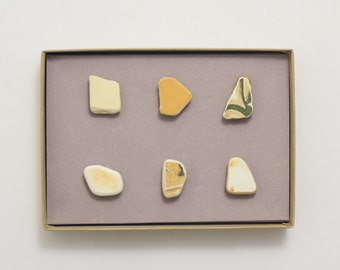 Tropical Yellow Pottery Shards Magnets | Israel Pottery, Ceramic Magnets Yellow Ceramic, Set of 6 Magnets, Strong Magnet for Magnet Board