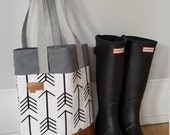Arrow tote/White with black arrows/Montana patch/Any print on this site/Mid size tote, between a purse and a standard tote/Made to order