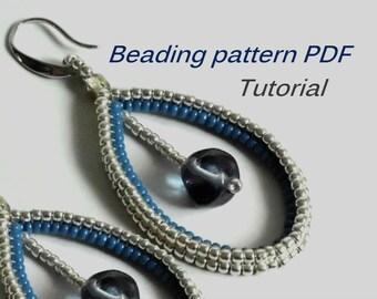 Beaded earrings Evgeniya. Beading Tutorial. Beading pattern PDF. Instant download. Earrings Pattern PDF