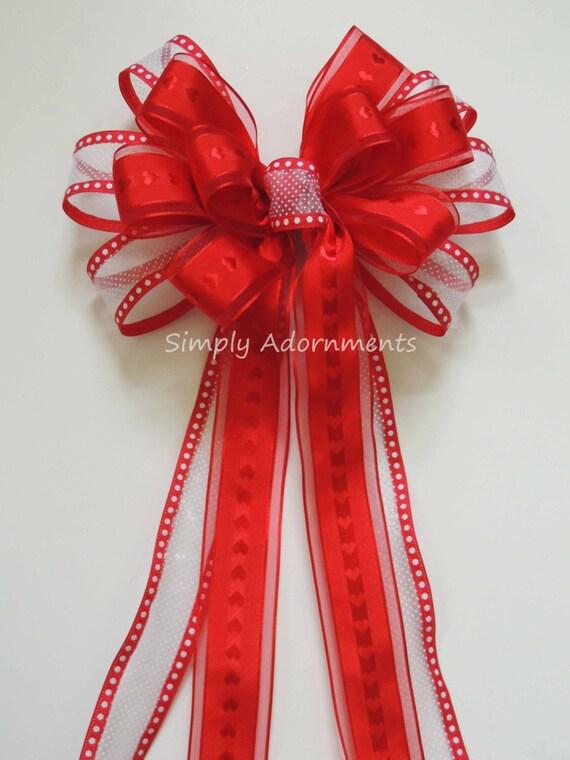 Red Heart Valentine Wreath Bow Red White Valentine Wedding Pew Bow Valentine Door Hanger decor Valentine Party Decor Valentine Gift bow