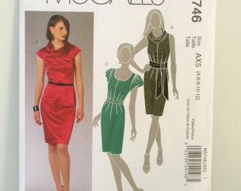 McCalls M5746 Womens Cocktail Dress Sewing Patterns Misses Slim Fitted Dress Pattern Size 4 6 8 10 12 Bust 29 30 31 32 34 UNCUT