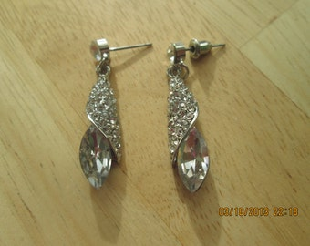 Silver Tone and Clear Crystal Cone Earrings with Clear Rhinestones