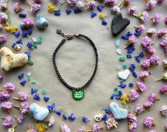 Braided Choker - Custom Engraved Kitten Talisman - Feminist Quotes Jewelry - Artisan Handcrafted