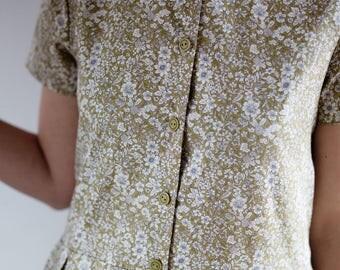 Cotton Poplin Dress - Chartreuse Color Dress - Women Dress - Floral Dress - Handmade by OFFON