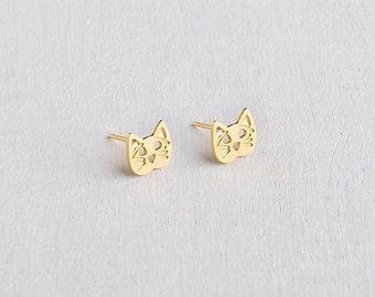 Cat Stud Earrings, Cute Cat Earrings, Animal Earrings, Dainty Earrings, Gold Plated Stud Earrings, Earrings For Girls, Minimalist Earrings