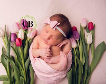 Baby Bow, Baby Headband, Newborn Headband, Pink Bow, Leather Bow, Nylon Headband, Baby Girl Bow, Pink Headband, Bow Headband, Baby Girl