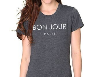 Bon Jour Paris Women's Organic RPET Blend Tee - Sizes XS to 2XL Heather Charcoal