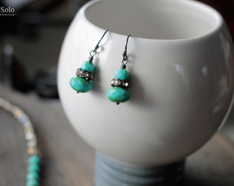 Turquoise beaded earrings Bohemian earrings drop earrings Turquoise earrings black oxidized Sterling silver earrings Boho chic jewelry