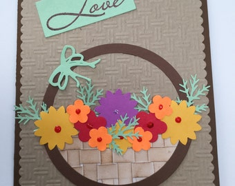 Flowers in a basket - Love - colorful flowers - for her - Valentine's cards - handmade cards - Wcards