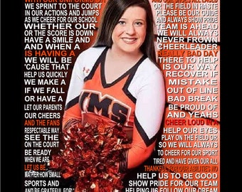 The Cheerleader Prayer personalized  with photo, Cheerleader,  Cheer Prayer, Cheerleader Print, Senior Night, Sports Banquet