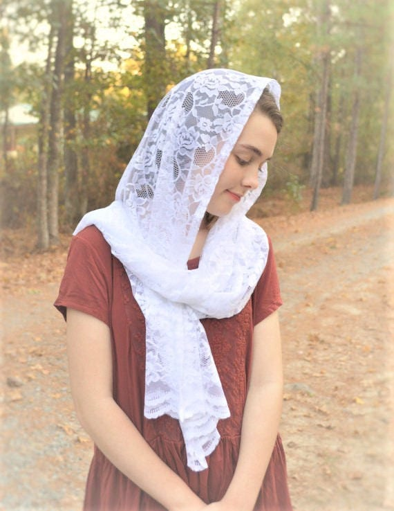 Catholic Soft White Lace Scarf | Head Cover Traditional Latin Mass Veil for Mass White Chapel Veil Mantilla Robin Nest Lane Church Veil